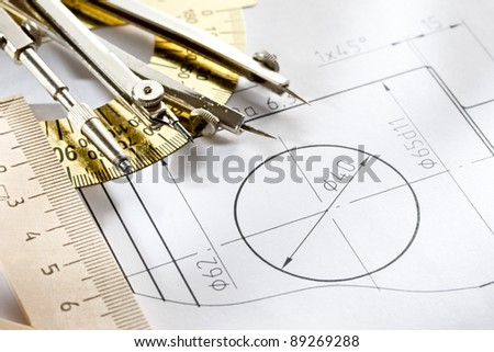 A piece of draft with drafting instrument - stock photo