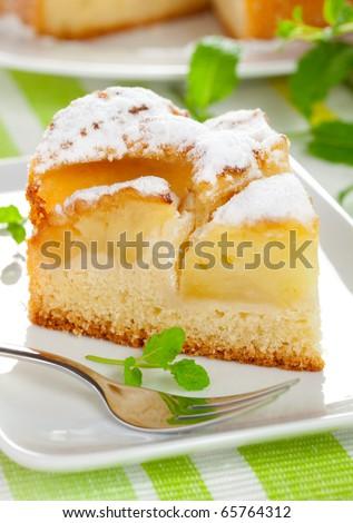 a piece of fresh apple pie - stock photo
