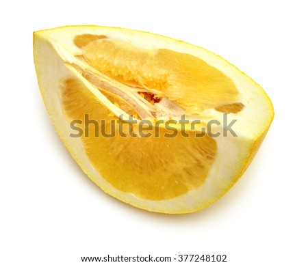A piece of fruit pomelo isolated on white background