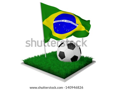 A piece of grass with a ball and an Brazil flag