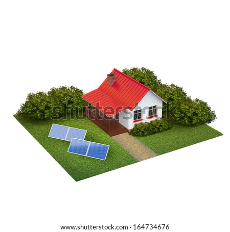 A piece of land with lawn with house, bushes and swimming pool isolated on white - stock photo