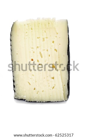 a piece of manchego cheese isolated on a white background - stock photo