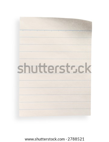 a piece of old lined paper with clipping path on white background
