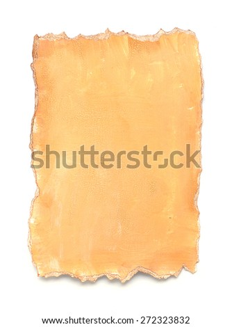 A piece of painted  paper isolated over white