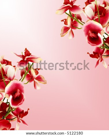 A piece of paper with flowers on sides. - stock photo