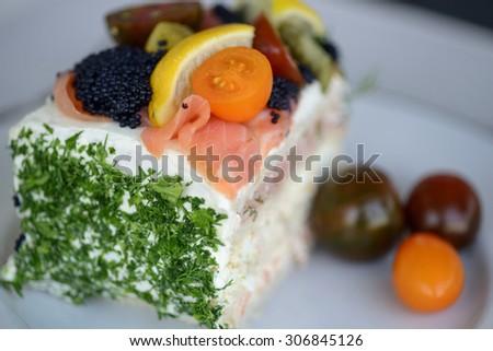 A piece of Swedish  sandwich layer cake - stock photo