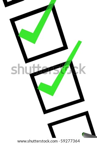 A piece of white checksheet with marking