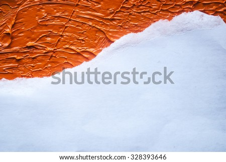 a piece ripped of white paper on a orange oil paint background - stock photo