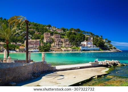 a pier in the harbour of Port de Soller, Majorca, Spain - stock photo