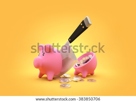 A piggy bank cut in half with a butchers cleaver. 3D Illustration - stock photo