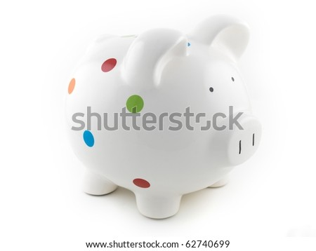 A piggy bank isolated against a white background - stock photo