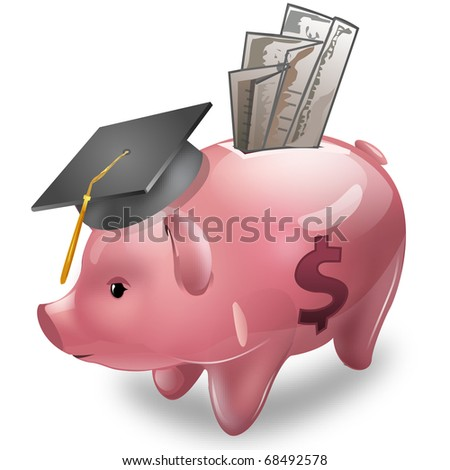 A Piggy bank wearing a graduation cap with money - stock photo