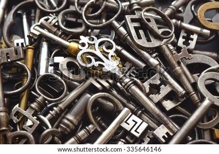 A Pile of Antique Keys - stock photo