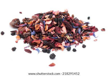 a pile of arabian magic fruit tea on white background