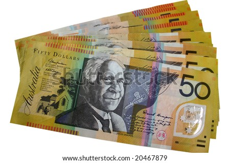 A pile of Australian 50 dollar notes - stock photo