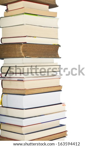 a pile of books, Isolated - stock photo