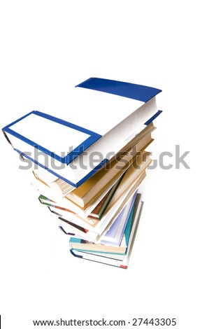 a pile of books isolated on a white background