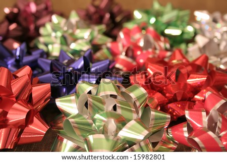 A pile of bows for holidays or celebration