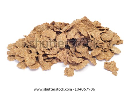 a pile of bran flakes on a white background - stock photo