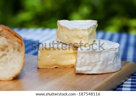 A pile of camembert pieces on a wooden board - stock photo