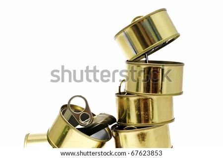 a pile of cans isolated on a white background