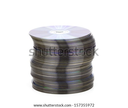 a pile of cd in a white background - stock photo