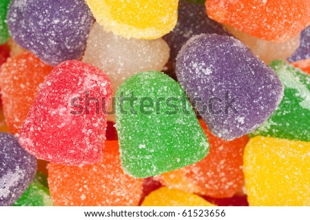 A pile of chewy, gummy, sugar crystallized sweet holiday candy.