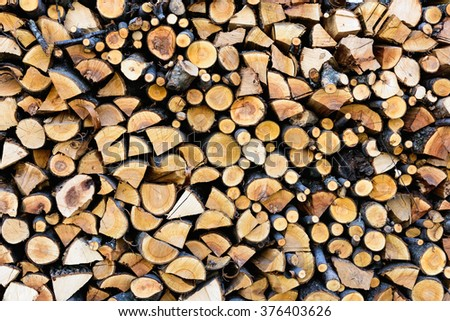 a pile of chopped wood for the stove to heat the winter in the cold