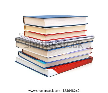 A pile of class books or back to school