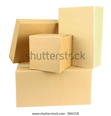 A pile of closed boxes with workpath - stock photo