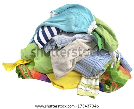 A pile of clothes on white background - stock photo