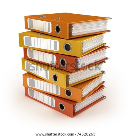 A pile of colorful ring binders isolated on the white background