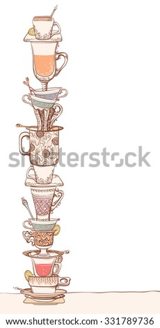 A pile of cups. Set of various ornate cups of tea/coffee, saucers and spoons. Isolated on white background.  - stock photo