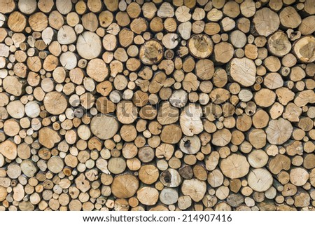 A pile of cut tree logs - background  - stock photo