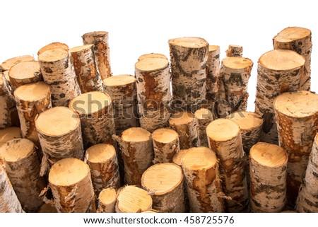 a pile of cut wood stump log texture - stock photo