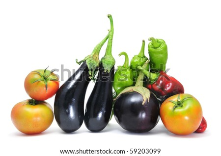 a pile of different vegetables isolated on a white background - stock photo