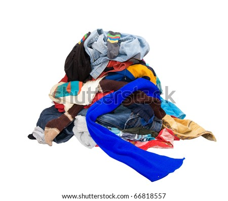 A pile of dirty laundry.  clothes never end. Isolated on white - stock photo