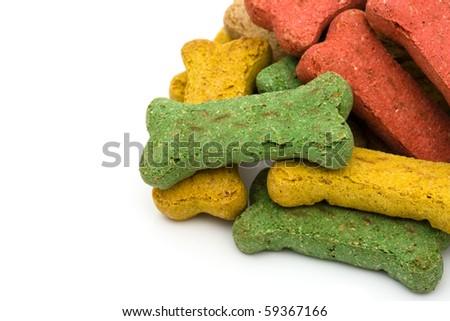 A pile of dog treats isolated on a white background, dog treats - stock photo