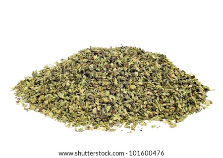 a pile of dried oregano on a white background - stock photo