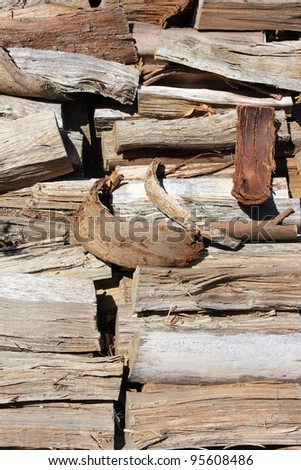 A Pile of Dry Firewood - stock photo