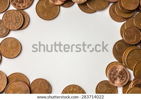A pile of euro cents over white background - stock photo