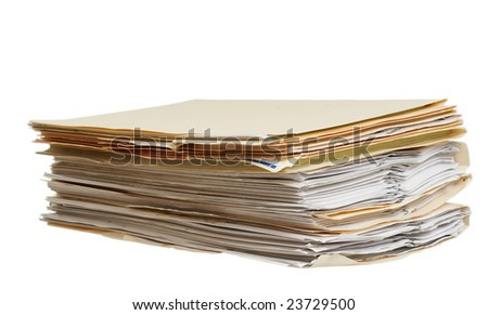 a pile of file folders on a white background