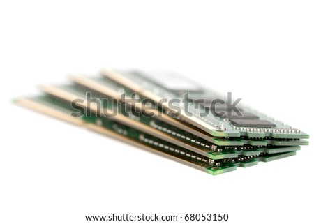 A pile of four DIMM memory modules.  Very shallow DOF.  Focus on the front.