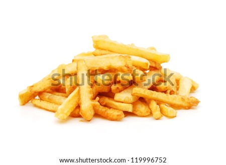 a pile of french fries isolated on white - stock photo