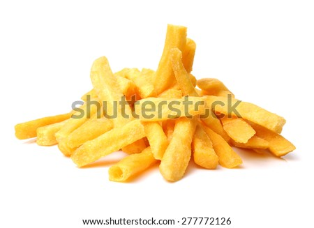 a pile of french fries on white background - stock photo
