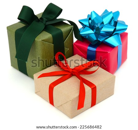 A pile of gift boxes, holiday presents  - stock photo