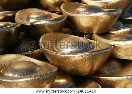 A pile of gold bars - stock photo