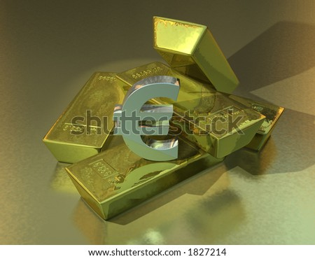 A pile of gold bars with a silver Euro symbol - stock photo