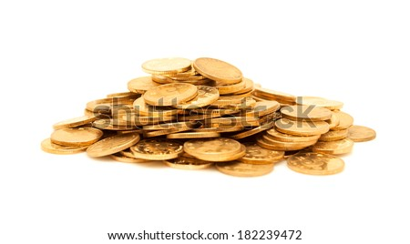 A pile of gold coins isolated - stock photo