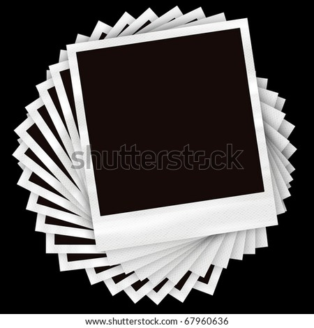A pile of instant film photos arranged in a circular pile over a black background. - stock photo